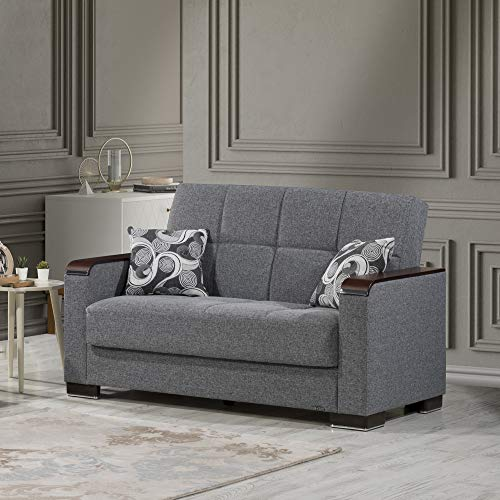 Ottomanson ARM-WLS-33 Armada X Gray Fabric Upholstery Wooden Trimmed Armrest Convertible Loveseat With Storage