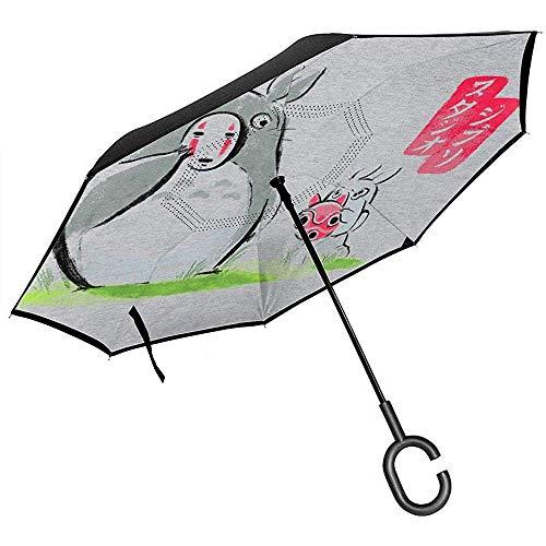 Mijn buurman Totoro Ghibli maskers omgekeerde paraplu voor auto vouwen ondersteboven C vorm handen lichtgewicht winddicht ideaal geschenk
