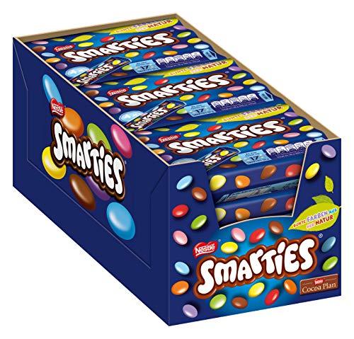 Nestlé SMARTIES kleine Rolle, bunte Schokolinsen, ideal für Kindergeburtstage, ohne künstliche Farbstoffe, Großpackung für kleine Naschkatzen, Multipack, 12er Pack (á 4 x 34g)