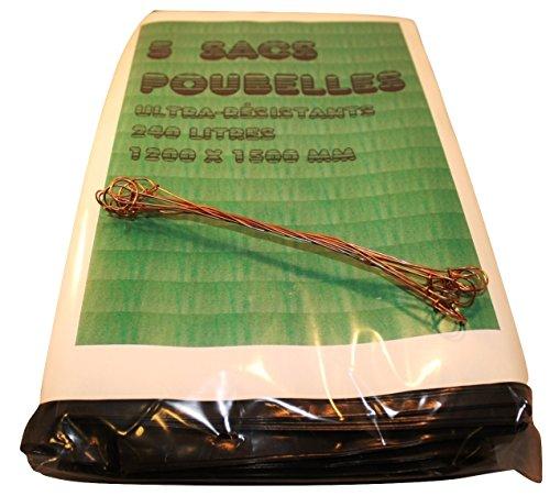 Sacs Poubelle Grande Contenance, Sac à Ordure extra-fort 240L, 120 x 150 cm, Très résistants + Fils de fermeture (5x)