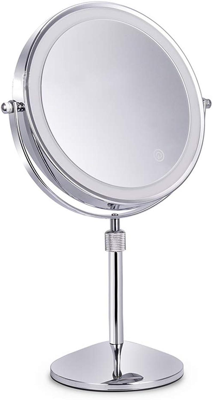 LED Kosmetikspiegel 3X   5X   7X   10X Hhenverstellbar 360 Grad drehbarer Anti-Rutsch-Standfu Doppelseitiger Schminkspiegel,10X