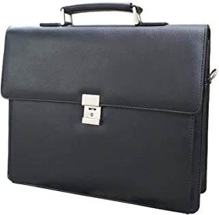 Men's Leather Briefcases Business Office Lawyer Attache Case with Locks 15.6