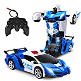 Remote Control Transform Car,Transform Robot RC Car for Kids,One Button Transformation & Rechargeable 360°Drifting 1:18 Scale RC Police Car ,Boys Toys for 6-12 Years Old Kids Birthday Xmas Gift