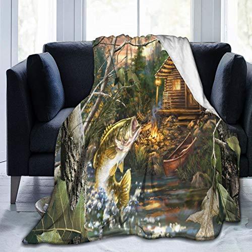 LISNIANY Manta de Franela Suave,Farmhouse Forest Cabin y BigMouth Bass,Cama de Camping para sofá 127x102cm