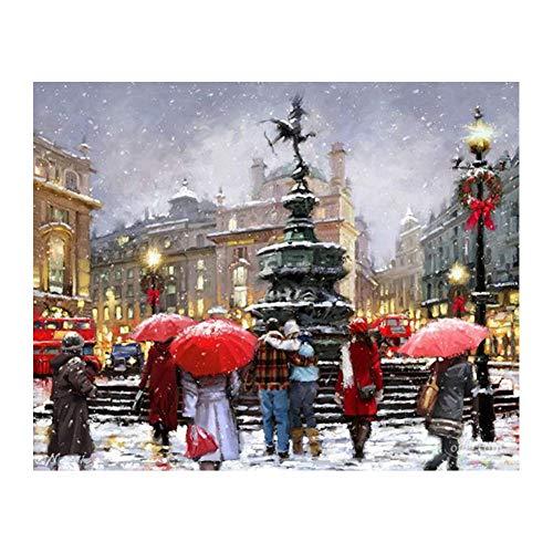 wgkgh DIY Pintura Por Números Para Adultos Pinturas Al Óleo Seniors Niños Lona Kits De Los Dibujo Lienzo Principiante Decoración De Casa Pinturas Belleza en la nieve 30CMX40CM