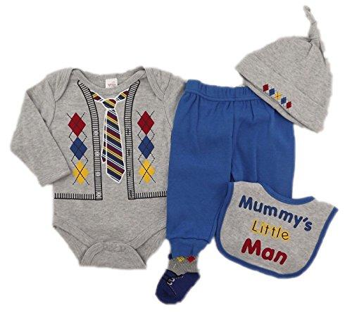 Soft Touch-Set de naissance 5 pièces, body, pantalon, bavoir, bonnet et chaussettes, gris et bleu (6-9 mois)