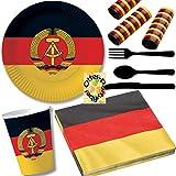 HHO Nostalgie Ostalgie DDR Party-Set 67tlg. für 8 Gäste : Teller Becher Servietten Luftschlangen Besteck