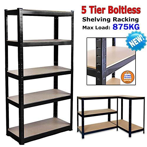 Boltless Garage Shelving Units Storage Shelves Metal - 180cm Wide, 90cm Deep, 40cm High - Black Garage Shed Racking Storage Workbench - 875KG Capacity (175KG Per Shelf) - Workshop, Shed, Office