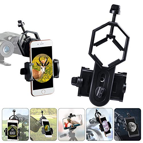 HUTACT Telescope Phone Mount Universal Smart Phone Adapter Holder for Spotting Scope, Binoculars, Monocular, Microscope, 360° Rotatable Cellphone Clip fits Almost All Smartphone on The Market