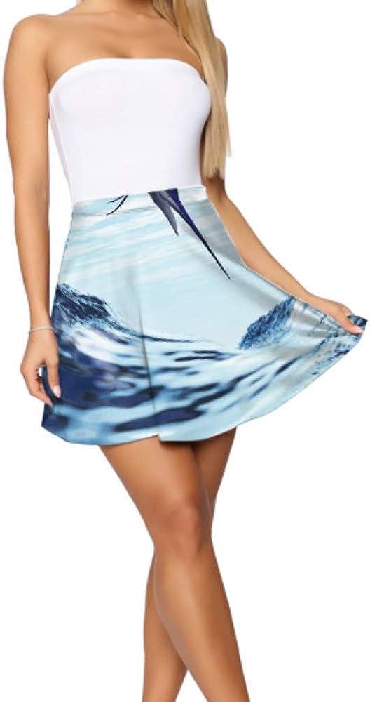 Mini Skirts Women Beautiful Fish Blue Marlin Jumps Into Wave Mini Skirts Women Women's Basic Casual Fancy Mini Skirt S-XL