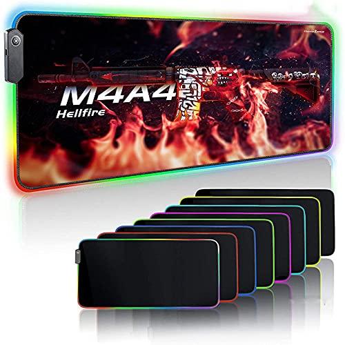Tapis de Souris Gaming M4A4 Gun Game RGB Gaming Mouse Pad LED Glowing Extended LED Anti Slip Base en Caoutchouc Clavier D'ordinateur Tapis De Souris 300x800mm