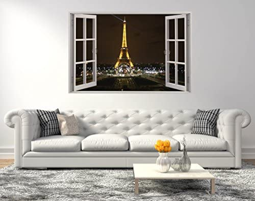Eiffel Tower Paris Landscape 3D Series Smashed Wall Effect Wall Decal For Home Small 22 x14 product image