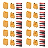 AUTOUTLET 10 Paar XT30 XT-30 Männlich Weiblich Rundstecker Stecker Bullet Steckverbinder Netzstecker mit Wärmeschrumpf für RC Lipo Batterie -
