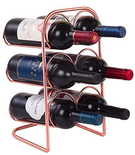 Buruis Countertop Wine Rack, Modern 3 Tier Wine Holder Stand for Red White Wine Storage, Water Bottle Holder, 6 Bottle Wine Organizer for Home Decor, Bar, Wine Cellar, Cabinet, Pantry - Rose Gold