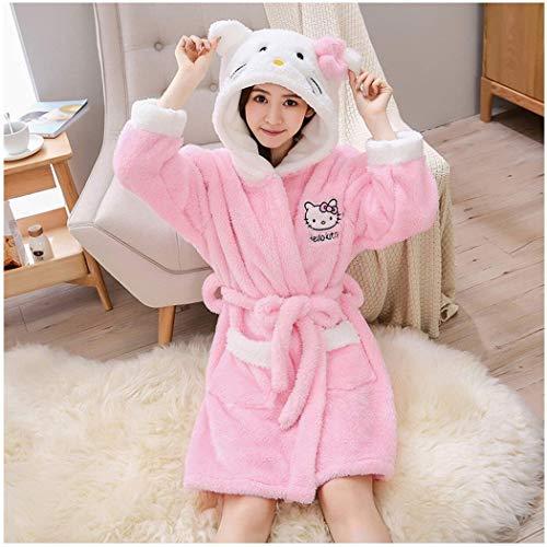 LZQBD Pyjamas, Damen Weiche Gemütliche Hooded-Dressingkleid-Plüsch-Bad-Robe Für Frauen-Housecoat-Loungewear-Bademantel,Rosa,X-Groß