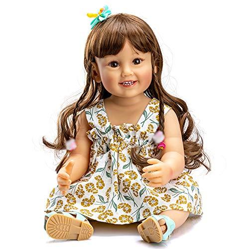 55cm Reborn Babypuppen Silikon Vinyl Ganzkörper Baden Mädchen, 22 Zoll Braun Haar Prinzessin Puppen Mädchen, Lebensechte Kleinkindpuppen Entzückendes Geschenk Spielzeug