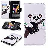 LEMORRY Funda para Huawei Honor 7X Cuero Funda Billetera Tapa Estuches Bolsa con Ranuras para Tarjetas Magnética Protector Stand Suave TPU Silicona Piel Cover para Huawei Honor 7X, Lindo Panda