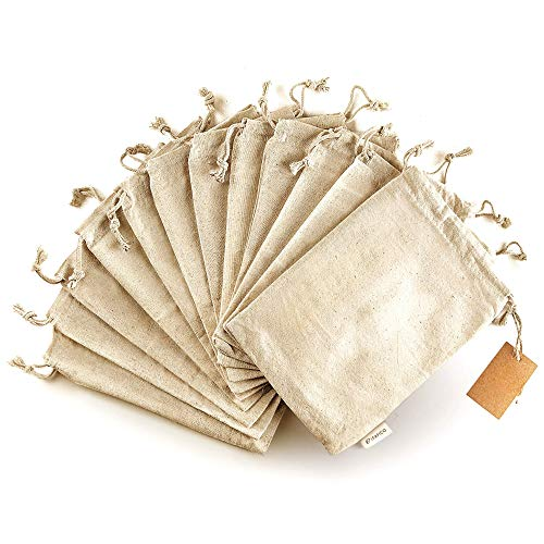 Cotton Produce Bags - Large 10x12 Inch - 12 Pcs Multipurpose Eco Bags - Muslin Bags with Drawstring - Canvas Bags - Vegetable and Bread Bags - Fabric Sachet Bags - Linen Bag by Leafico