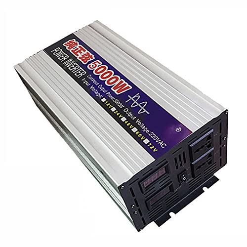 SATSAT Inversor De Onda Sinusoidal Pura, DC 12V / 24V / 48V / 60V A AC 220V Convertidor De Voltaje, 2000W / 3000W / 4000W / 5000W Transformador De Voltaje Inversor De EnergíA Solar,5000W-48V