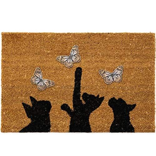 Felpudo Original Gatos y Mariposas Fibra de Coco base antideslizante pvc 60x40 cm