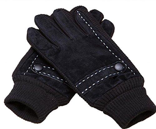 Andyshi Herren Winter-Handschuhe, echtes Schweinsleder, Veloursleder, geripptes Oberteil, Fleece Gr. Einheitsgröße, Schwarz