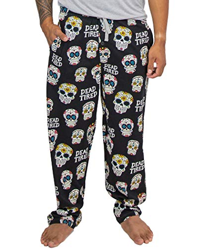 Lazy One Pajama Pants for Men, Men's Separate Bottoms, Lounge Pants, Sugar Skull, Day of The Dead (Dead Tired PJ Pant, Large)