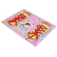 滑らかな太い糸通し教育靴ひもおもちゃ、赤ちゃん靴ひも糸通しおもちゃ、赤ちゃんが靴を結ぶことを学ぶための幼児の子供たち(QZM-pink laces)