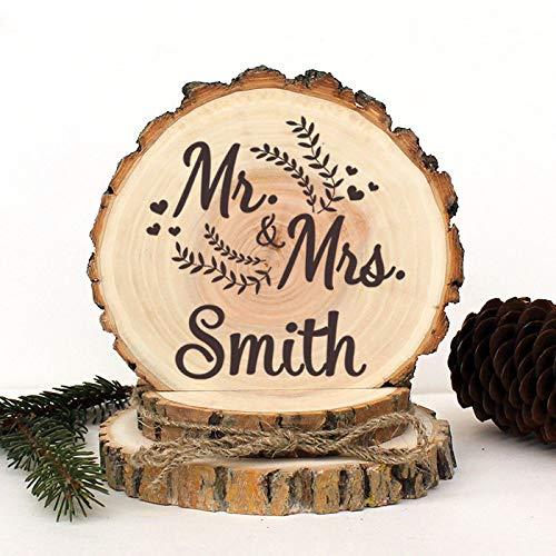 Decoración rústica para tarta de boda, diseño rústico de Mr y Mrs.