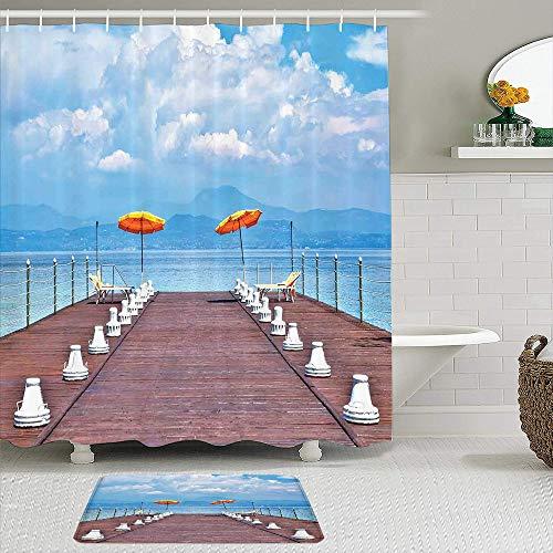 Juego de cortinas de ducha de 2 piezas con alfombra de baño antideslizante,Sombrillas luminosas y hamacas en un embarcadero en Lake Seascape Scenic,12 ganchos,Decoración de baño personalizada