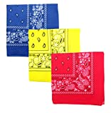 Paisley 3 piece Assorted Cotton Bandanas (Royal / Yellow / Red)