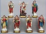 Catholic Gifts Seven Archangels - Colored Resin Michael, Raphael, Zadquiel, Barachiel, Uriel, Gabriel, Jofiel 5 Inch Statue Set