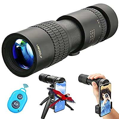 UNEGROUP Monocular Telescope, High Power HD Low Night Vision Waterproof Compact Spotting Scope with Smartphone Holder, Wireless Control & Tripod - FMC BAK4 Prism for Bird Watching, Camping, Hiking from UNEGROUP