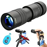 UNEGROUP Monocular Telescope, High Power HD Low Night Vision Waterproof Compact Spotting Scope with Smartphone Holder, Wireless Control & Tripod - FMC BAK4 Prism for Bird Watching, Camping, Hiking