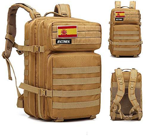 ELITEX Mochila 45L Táctica Militar Bandera España Impermeable para Crossfit Caza Aire Libre Deportes Gimnasio Portatil (Marron)