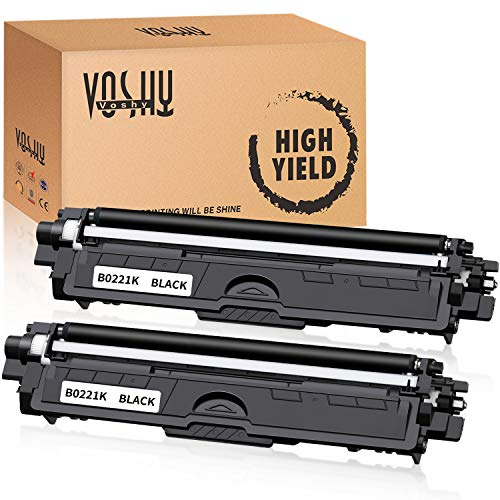 Voshy Compatible Toner Cartridge Replacement for TN221BK TN221 Used to HL-3170CDW MFC-9130CW MFC-9340CDW MFC-9330CDW HL-3140CW HL-3180CDW Printer 2500 Pages (Black, 2-Pack)