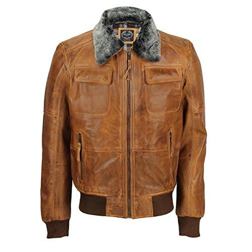 Xposed Chaqueta de cuero suave para hombre, estilo retro de motociclista, estilo vintage bombardero, color Marrón, talla X-Large
