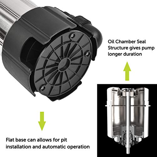 FLUENTPOWER 3/4HP 3300GPH Sump Pump, Stainless Steel Submersible Pump for Dirty/Clean Water, Disable Float Switch Function, Included 3/4