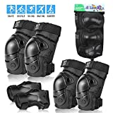 boruizhen Kids Knee Pads Elbow Pads with Wrist Guards Protective Gear Set for Cycling BMX Bike Skateboard Inline Skating Scooter Riding Sports (Black, Medium)