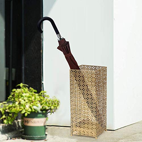 Joveco Umbrella Racks- Metal Square Umbrella Stand Holder with Drip Tray for Home Entryway- Free Standing Holders for Canes Walking sticks and Hiking Poles (Mid Century Gold)