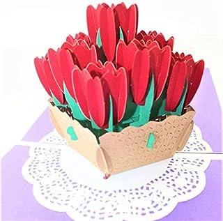 BC Worldwide Ltd carta pop-up 3D fatta a mano tulipano compleanno anniversario di matrimonio San Valentino festa della mam...
