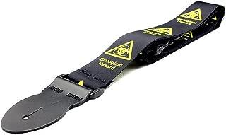 LeatherGraft Black Dark Biohazard Warning Design Style Soft Strong Guitar Strap