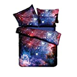 LEV Bedding Sets - 3D Bedclothes Galaxy Duvet Cover Set Twin Bed Linen Sets Universe Outer Space King Size comferter Bedding Sets Single Double - by 1 PCs