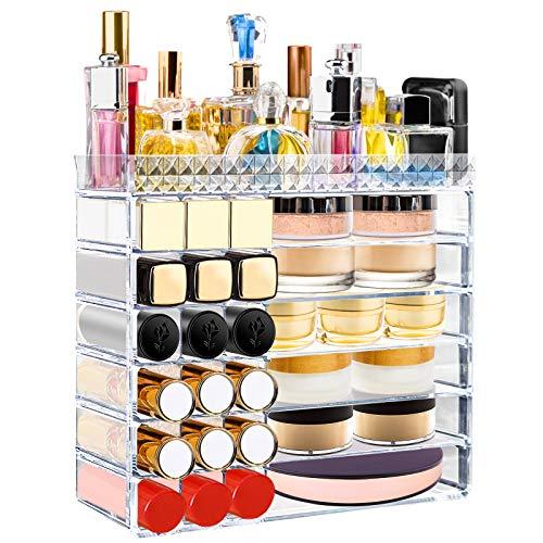 Aerbee Organizador de Maquillaje Acrílico Transparente, Cajas Almacenamiento Maquillaje para Pintalabios Cosmético Crema Brochas Maquillaje Pintauñas Ideas Regalo San Valentín Mujer