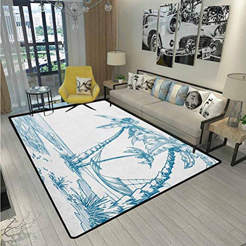 Beach Large Area Rugs Outdoor Runner Rug Modern Illustration of a Tropical Beach with Palm Trees and Hammock Hawaiian Relax Desk Chair mat for Carpet Blue White 5 x 7 Ft