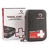 Erste-Hilfe-Travel-Case - Notfalltasche inkl. Inhalt für unterwegs - First Aid Kit für Reisen, Wandern, Camping, Urlaub - Zeitloses Design - Medizintasche mit Rettungsdecke, Beatmungstuch, Kompressen