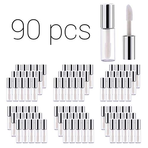 Case of 90 packs, Empty Plastic Clear Lip Gloss Tubes Lip Balm Bottle Container Silver Transparent 1.2ML Makeup Tool for Women (90 pcs, Silver)