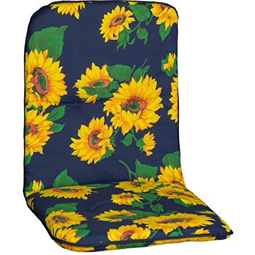 Beo Gartenstuhlauflage Gartenstuhlkissen Sitzkissen Polster für Niedriglehner Sonnenblumen blau