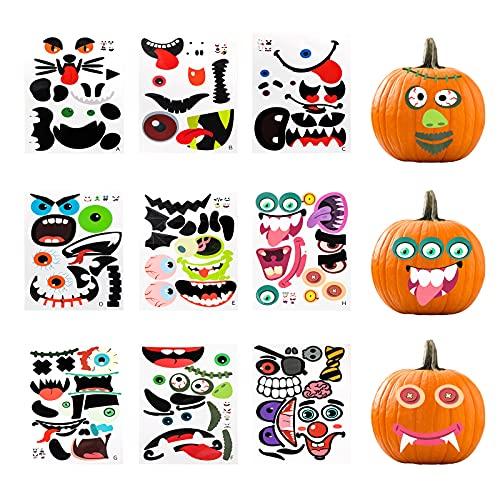 35 verschiedene Gesichter Halloween Kürbis Aufkleber Halloween Kürbis Deko Aufkleber Halloween Kürbis Gesicht Aufkleber Party Halloween Aufkleber, 9 Blatt