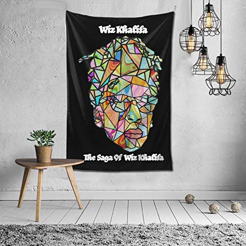 Wiz Khalifa The Saga of Wiz Khalifa Tapestry Art Wall Hanging Bedding Wall Tapestry Decoration for Living Room Bedroom Dorm Home Decor Funny Gifts Tapestry 60x40 inch