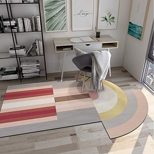 SN Huipeng Alfombra redonda grande moderna geométrica, sala de estar, dormitorio, irregular ovalada, lavable, no se desprende de la alfombra decoración del hogar 80 x 160 cm